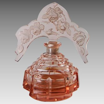 Pink Czech Perfume Bottle With Tiara Roses Stopper