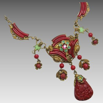 Highly Ornate Czech Necklace Deep Red with Green Enamel 1920-30s Possibly Neiger