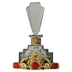 Black Crystal Glass Red Neiger Jeweled Czech Perfume Bottle