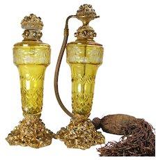 Austrian Bronze Jeweled Perfume Bottle Set
