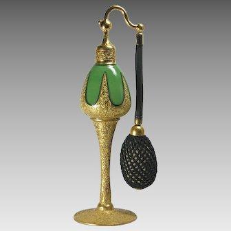 DeVilbiss 1926 Art Deco Green Gold Perfume Atomizer Bottle