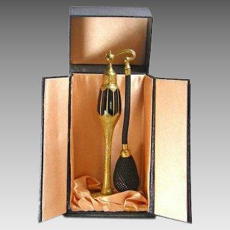 DeVilbiss 1926 Art Deco Black Gold Perfume Atomizer Bottle with Presentation Box
