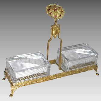 Czech Jeweled Cut Crystal Vanity Boxes