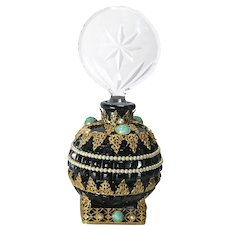 Jeweled Czech Black Base Perfume Bottle