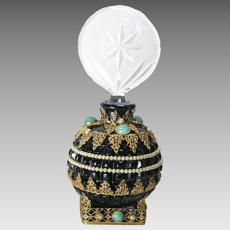 Jeweled Czech Black Base Perfume Bottle