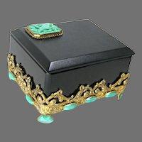 Black Neiger Jeweled Czech Dresser Box
