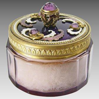 Amethyst Hoffmann Powder Box with Austrian Jeweling