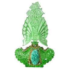 Large Czech Green Jeweled Schmidt Perfume