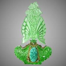 Large Czech Green Jeweled Schmidt Perfume