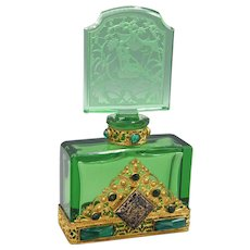 Elegant Deep Green Czech Hoffmann Jeweled Perfume Bottle
