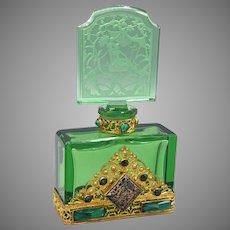 Elegant Deep Green Czech Hoffmann Jeweled Perfume Bottle