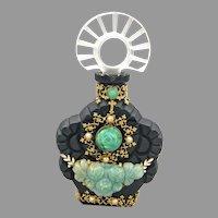 Czech Jeweled Black Glass Perfume Bottle