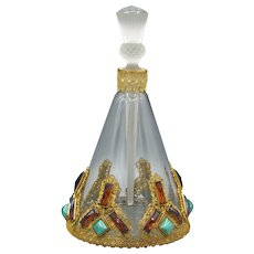 Large Czech Hoffmann Austrian Jeweled Perfume Bottle
