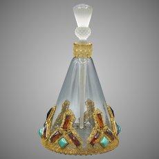 Large Czech Hoffmann Austrian Jeweled Perfume Bottle