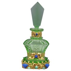 Green Czech Schmidt Perfume Bottle with Neiger Jeweling