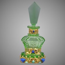 Green Czech Schmidt Perfume Bottle with Neiger Jeweling