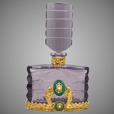 1930s Czech Amethyst Neiger Jeweled Perfume Bottle