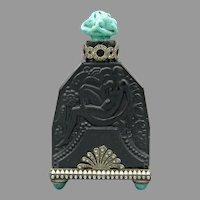 Czech Black Jeweled Hoffmann Perfume Bottle