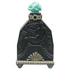 Czech Black Jeweled Hoffmann Perfume Bottle