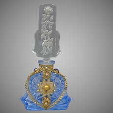 Blue Jeweled Czech Perfume Bottle with Roses on Stopper