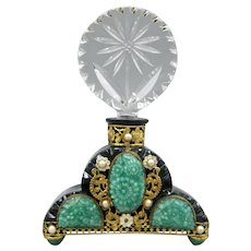 Black Glass Ornately Jeweled Czech Perfume Bottle