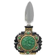 Black Glass Ornately Jeweled Czech Perfume Bottle