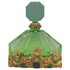 Green Czech Perfume Bottle with Austrian Jeweling