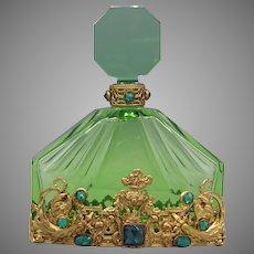 Green Czech Perfume Bottle with Austrian Jeweling