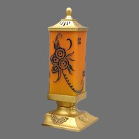 DeVilbiss 1928 Art Deco Frosted Orange Perfume Lamp