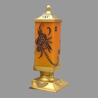 DeVilbiss 1928 Art Deco Frosted Orange Perfume Lamp