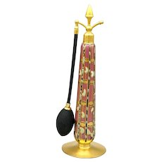 Tall 1926 DeVilbiss Lavender Rose with Gold, Black & Mint Green Art Deco Perfume Atomizer Bottle