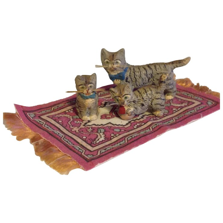 Mini Striped Cats for Doll house Composition