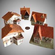 German Putz 5 Red Roof houses Snow Baby  Village