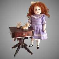 Mini~Sewing table~ Rosewood Dollhouse~ c. 1860