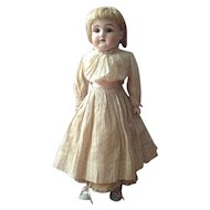 All Original~ Kestner 154~ 17Inch~ Peaches and cream Antique Bisque Shoulder Doll on Leather body~ Very fine condition