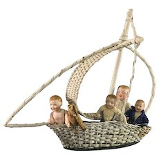 Magical Vintage Wicker Sailboat for Doll Display~ Charming!
