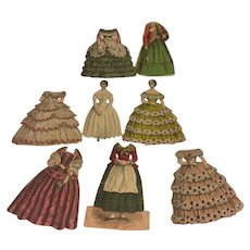 Early Paper dolls~ 1857 2 dolls w 6 dresses
