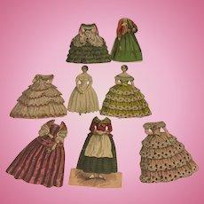 Early Paper dolls~ 1857 2 dolls w 6 dresses