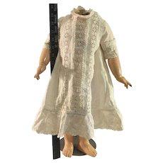 "Antique white work Doll Dress~ 16"" long"