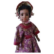 "21"" S&H 1358 Mulatto~ Simon Halbig Masterpiece~Character Portrait~ Original dress & wig"