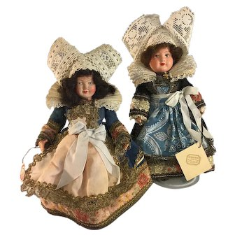 "Au Nain Bleu~ French Dolls 1920~ All Original 8""~ Celluloid & Painted Bisque"