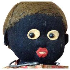 """Button in Ear~ 16"""" Black felt doll~ Lenci or Stieff"""