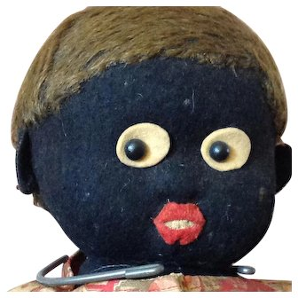 "Button in Ear~ 16"" Black felt doll~ Lenci or Stieff"