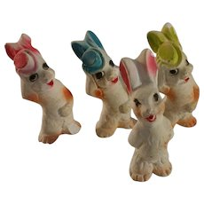 "~  Chalkware Bunnies w top hats ""Doo Woop"" Quartet ~"