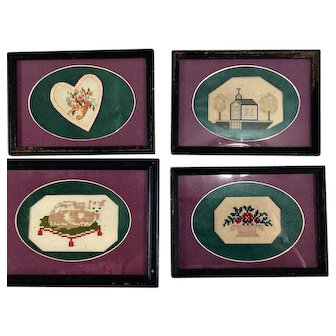 4 Small wool work Pieces, Framed & ready to hang~ Punch Paper~