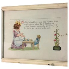 1910 Guttman~Charming Child & Doll Print~ Framed