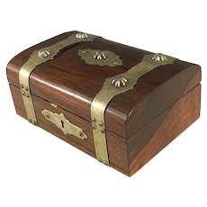 Rosewood dresser Box with Ornate Silver Straps