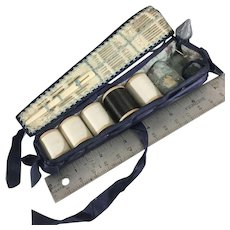 Antique Sewing Kit- Suede,Ribbon & silk~Lovely  Handmade Thread holder