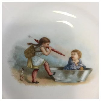'Taking Prisoners' Antique Child Plate