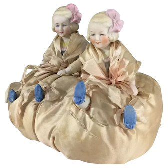 ~ Hertwig half Bisque twins~ 4.5 inch~ Sewing companions~